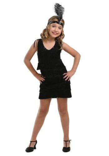 Black Fringe Flapper Costume for Girls