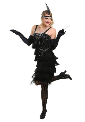 Black Charleston Flapper Dress for Women