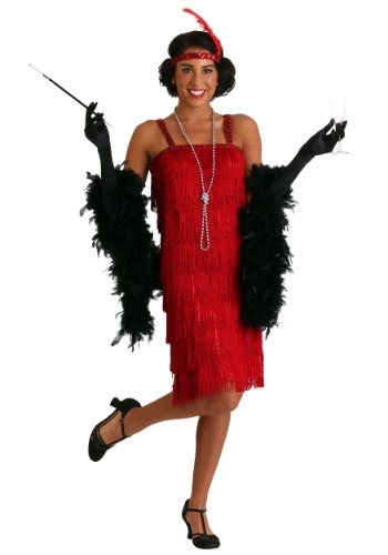 Miss Millie Red Fringe Flapper Costume