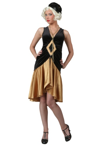 Womens Roaring 20s Velvet Diamond Flapper Dress Costume