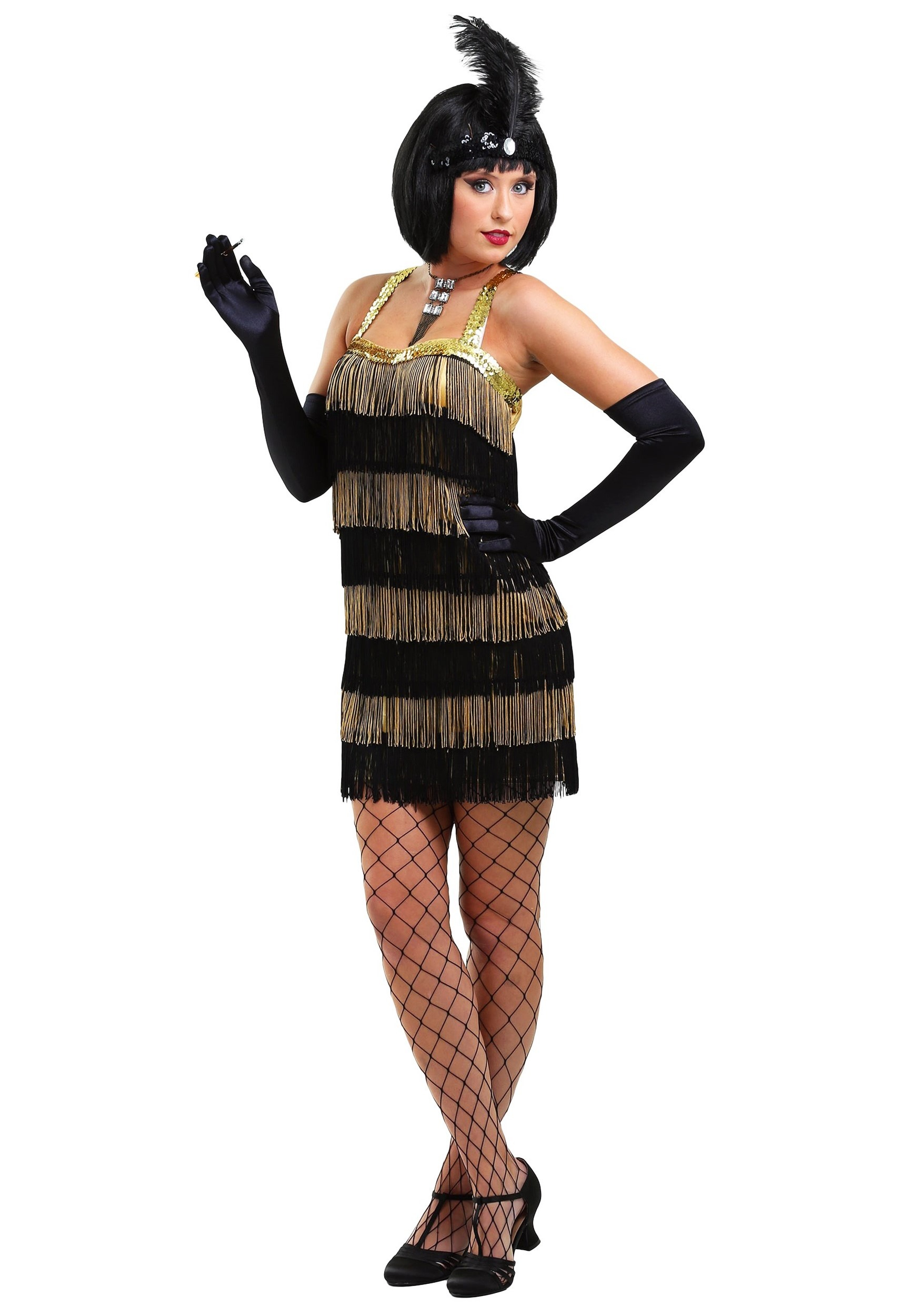 fringe gold flapper costume