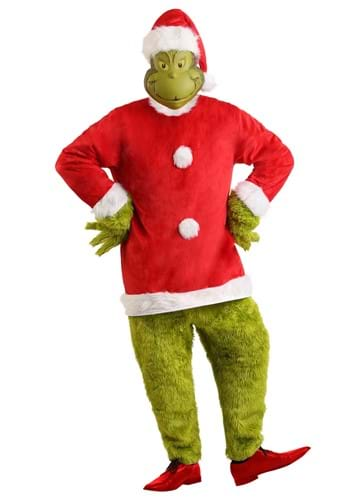 Deluxe Mens The Grinch Santa Jumpsuit with Mask Costume