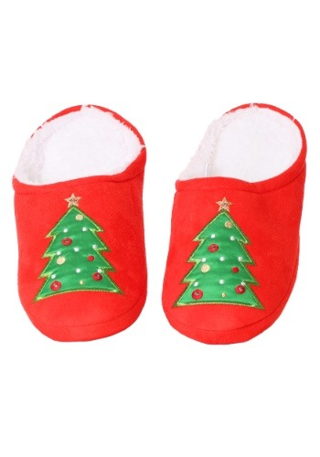 LED Christmas Tree Microfiber Scuff Slippers