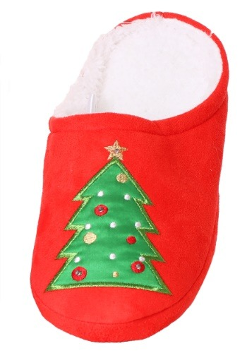 Christmas Tree LED Microfiber Scuff Slippers