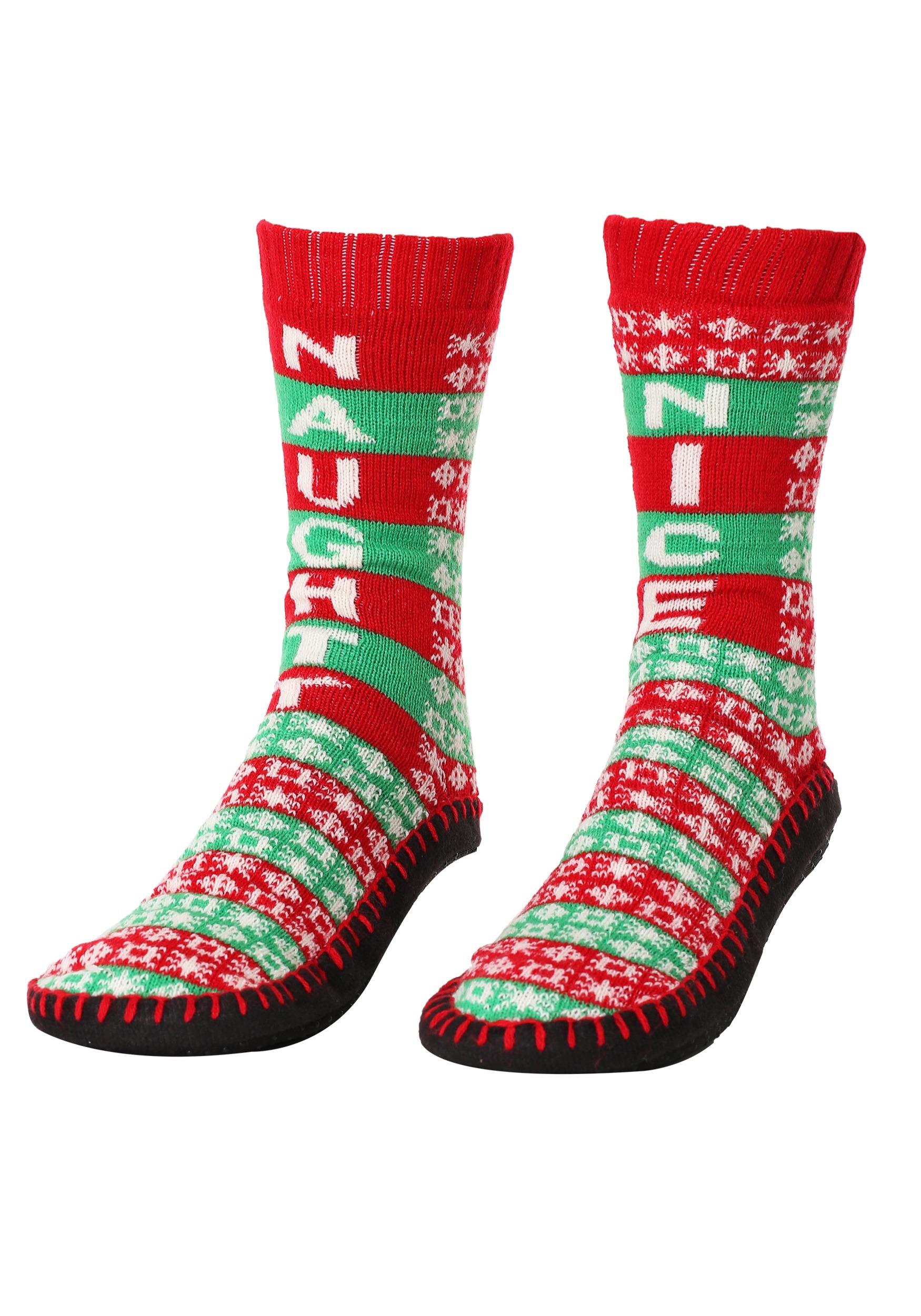 98e237bfc4e7 Naughty Nice Christmas Knit Slipper Socks