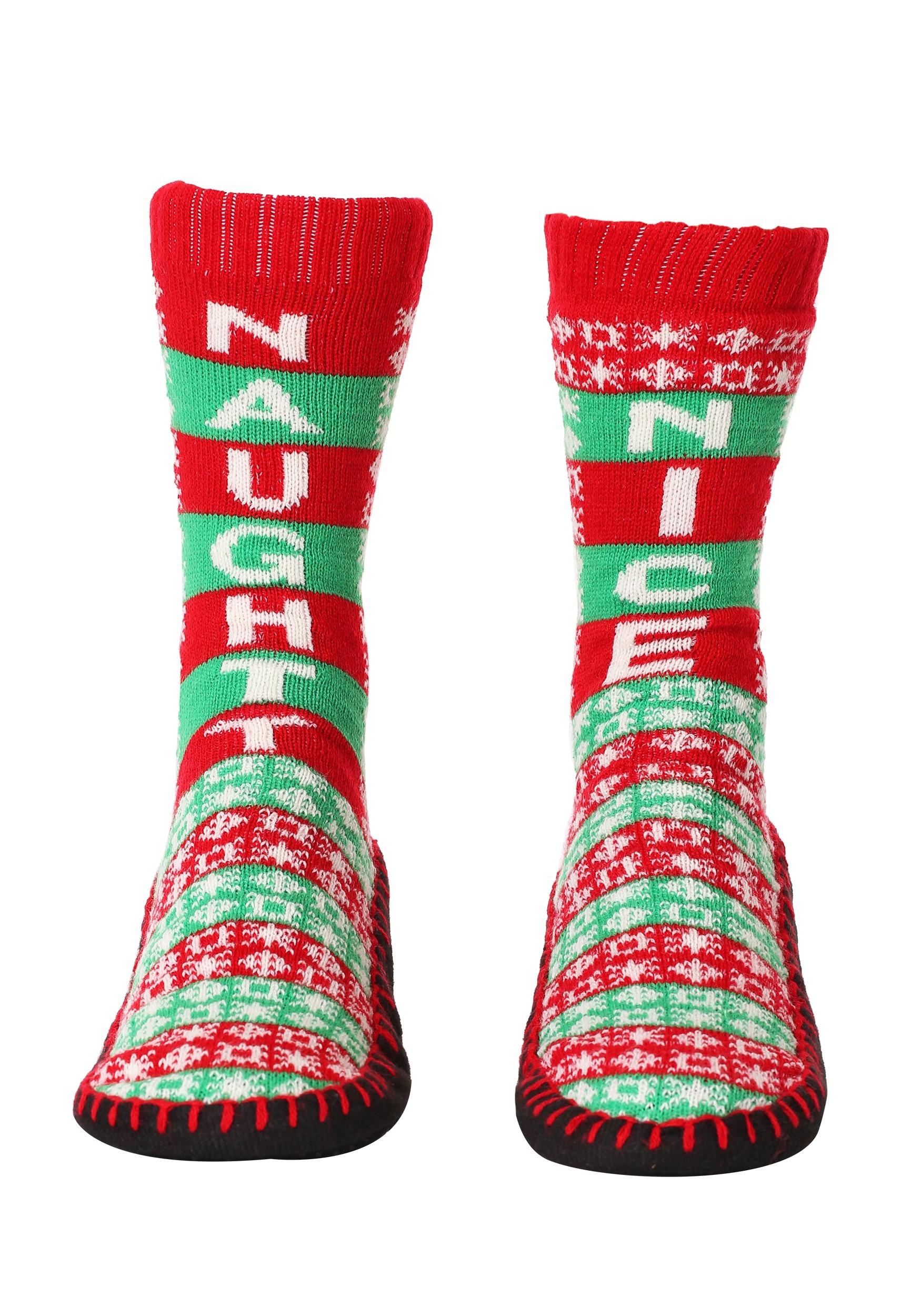 Naughty Nice Christmas Knit Slipper Socks