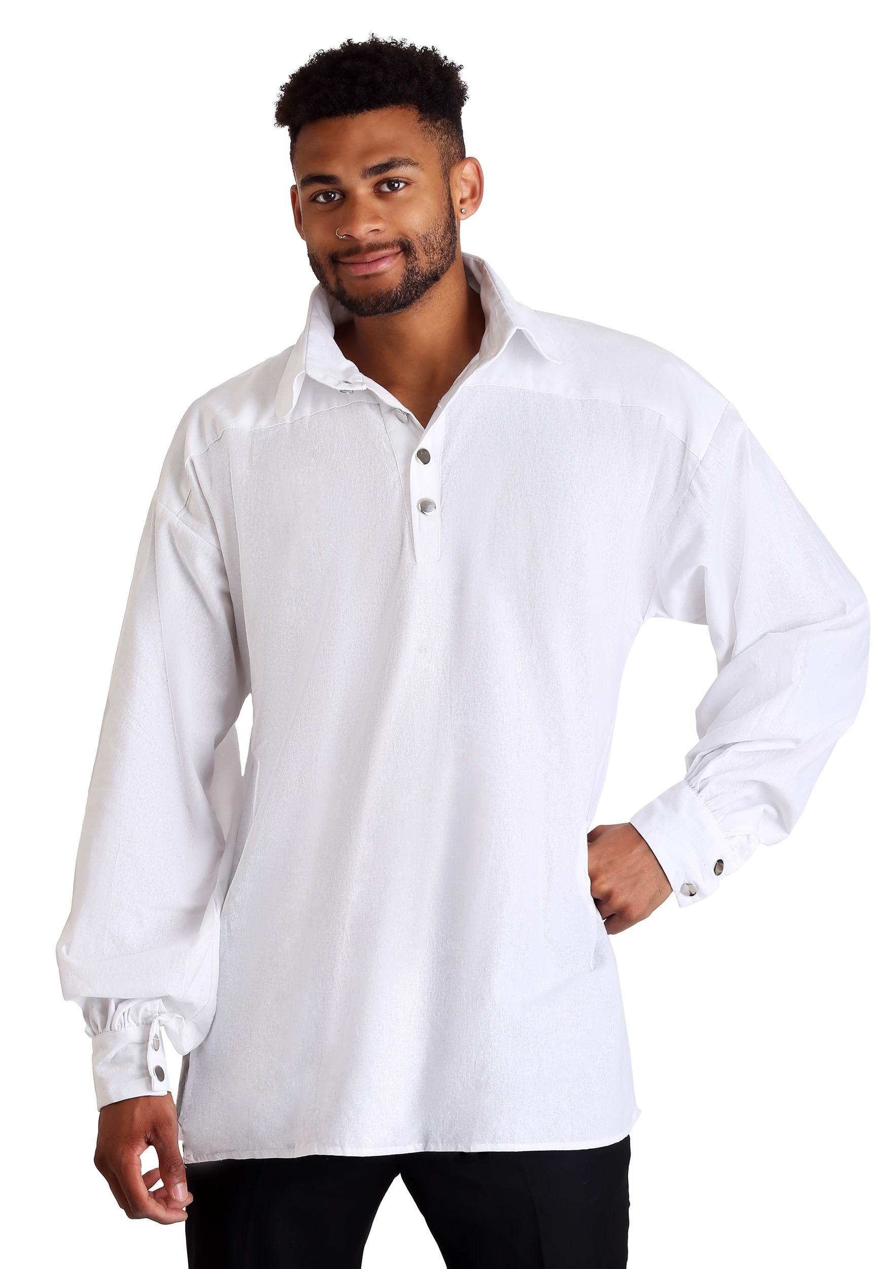 Men 39 s white renaissance shirt for White shirt outfit mens
