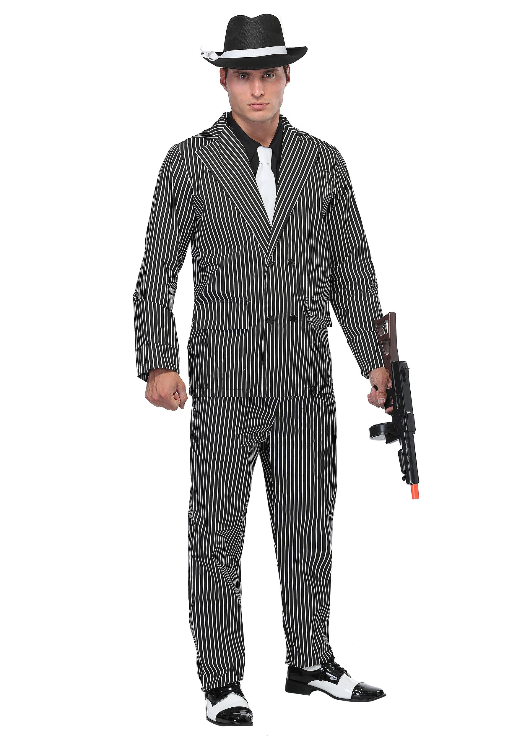 Men39;s Wide Pin Stripe Gangster Costume