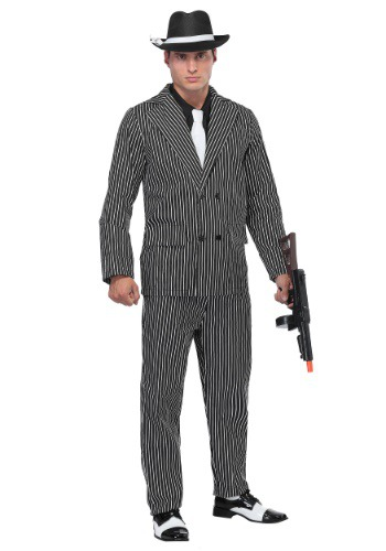 Men's Wide Pin Stripe Gangster Costume