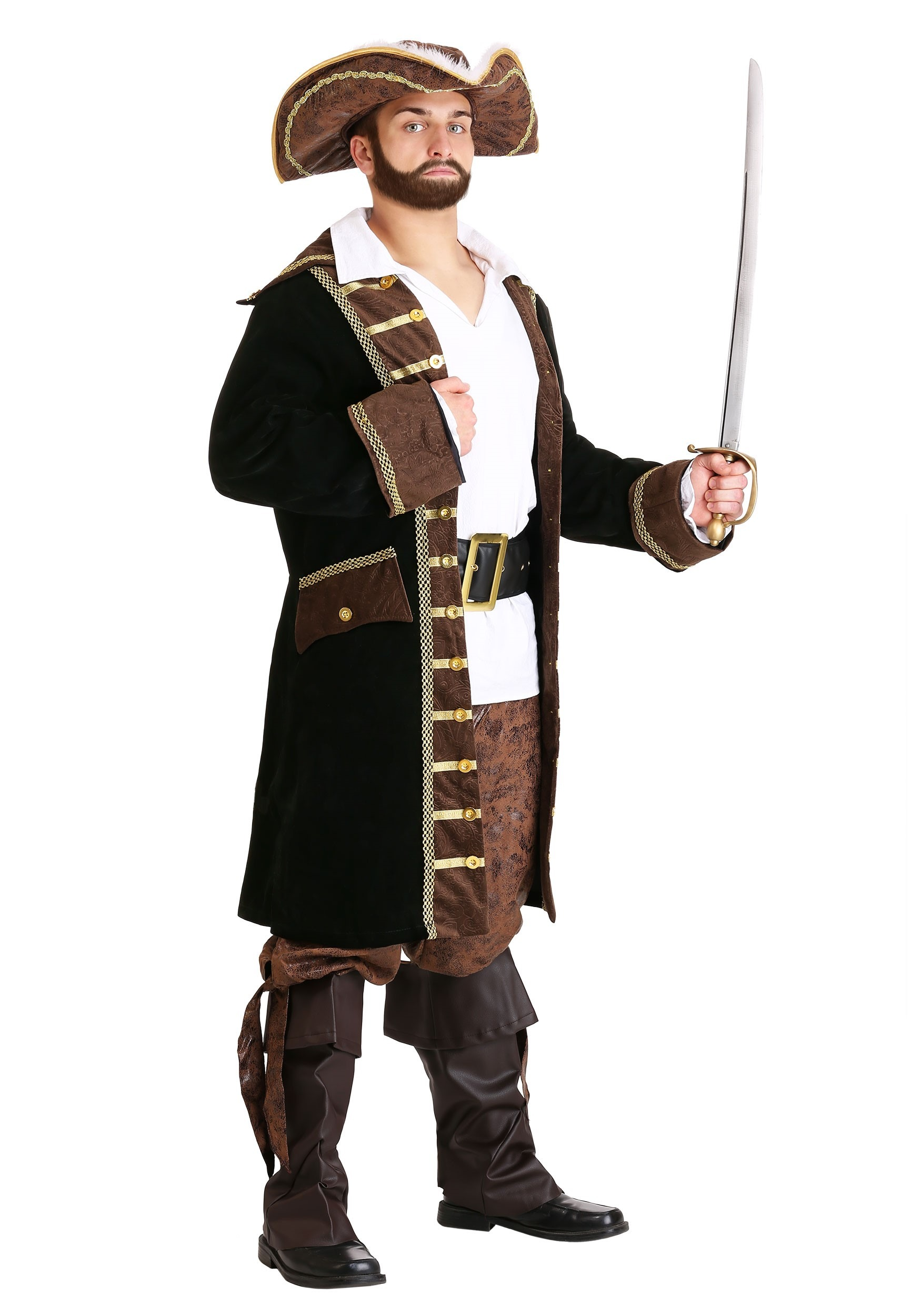 Fun World Adult Black Pirate Costume Shirt Adult Std.