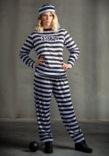 Womens Striped Prisoner Costume By: Fun Costumes for the 2015 Costume season.