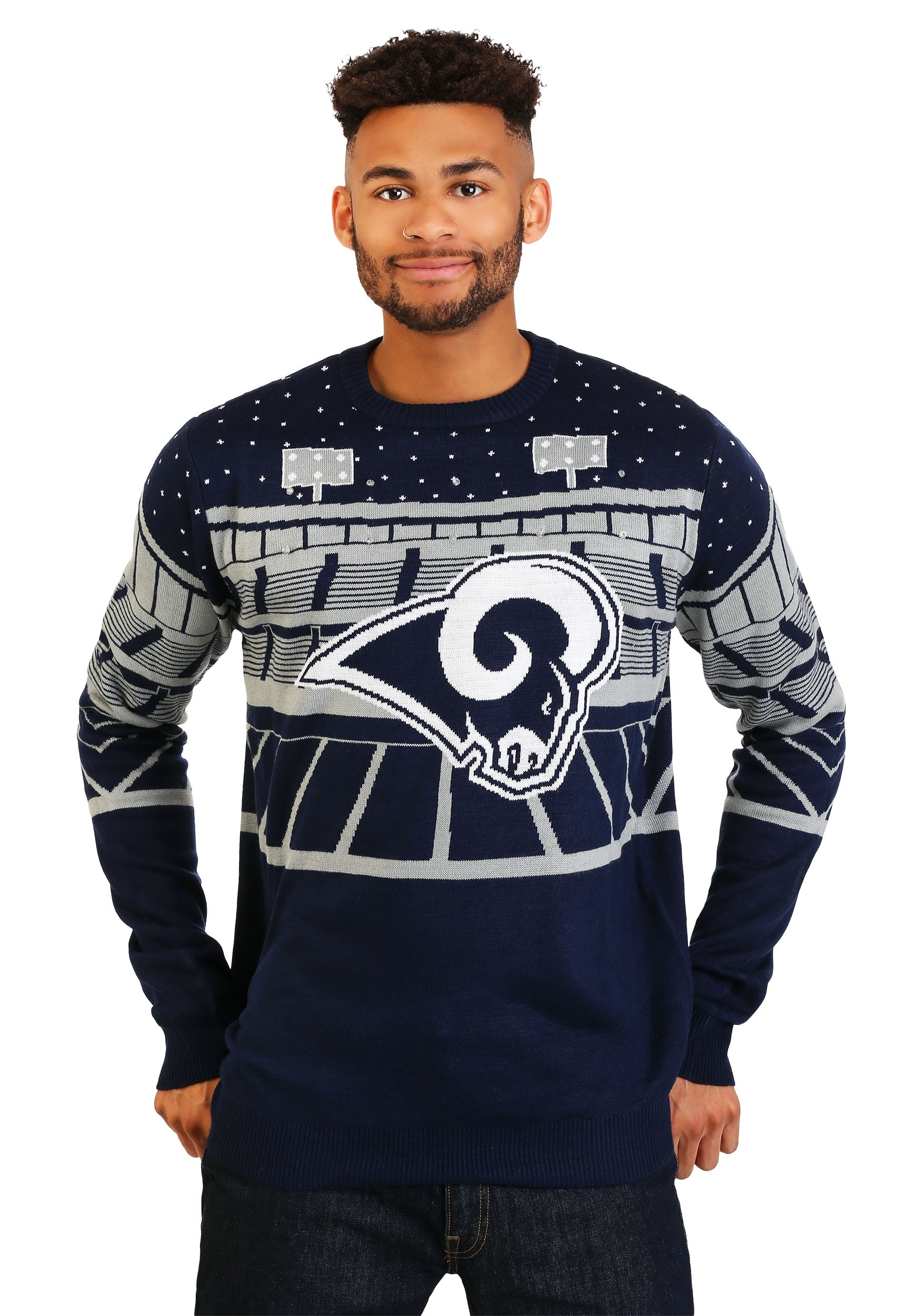 Nfl Los Angeles Rams Light Up Bluetooth Ugly Christmas Sweater