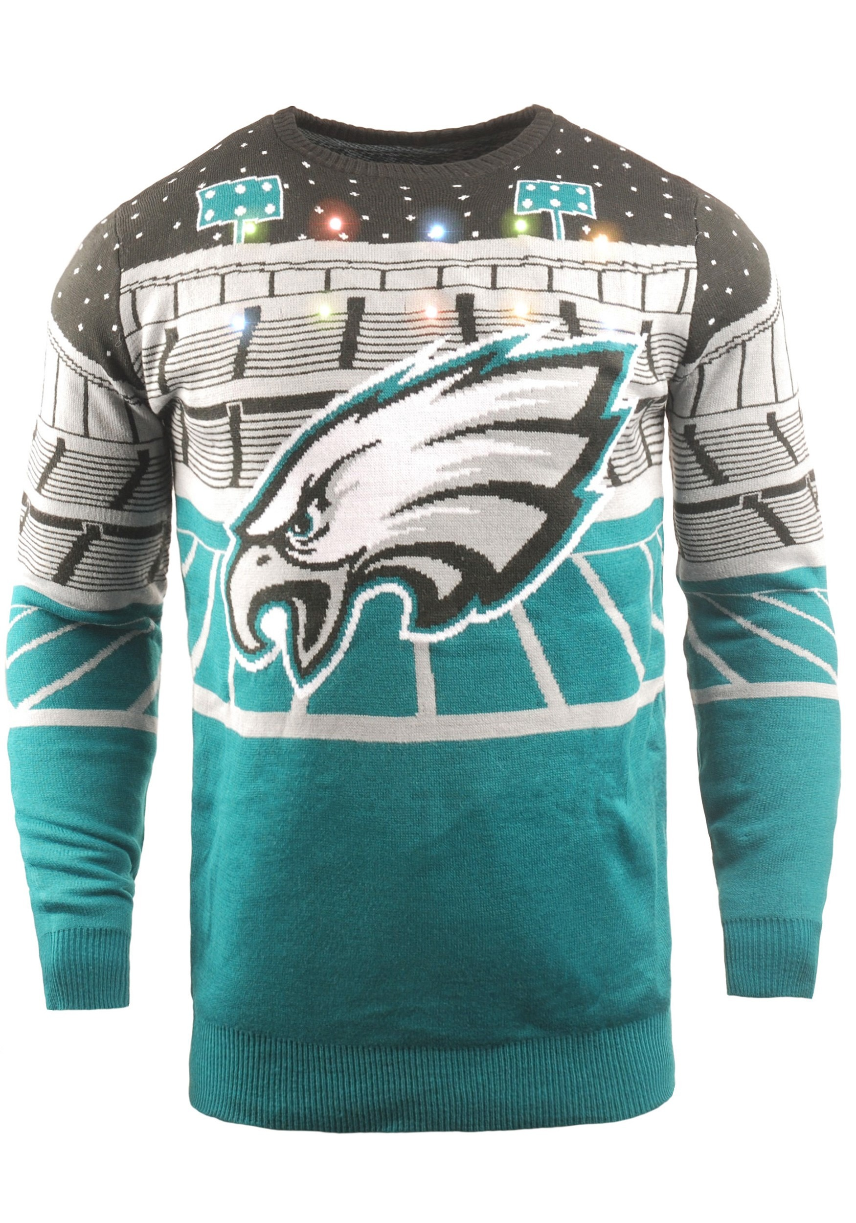 Philadelphia Eagles Mens Light Up Bluetooth Ugly Christmas Sweater