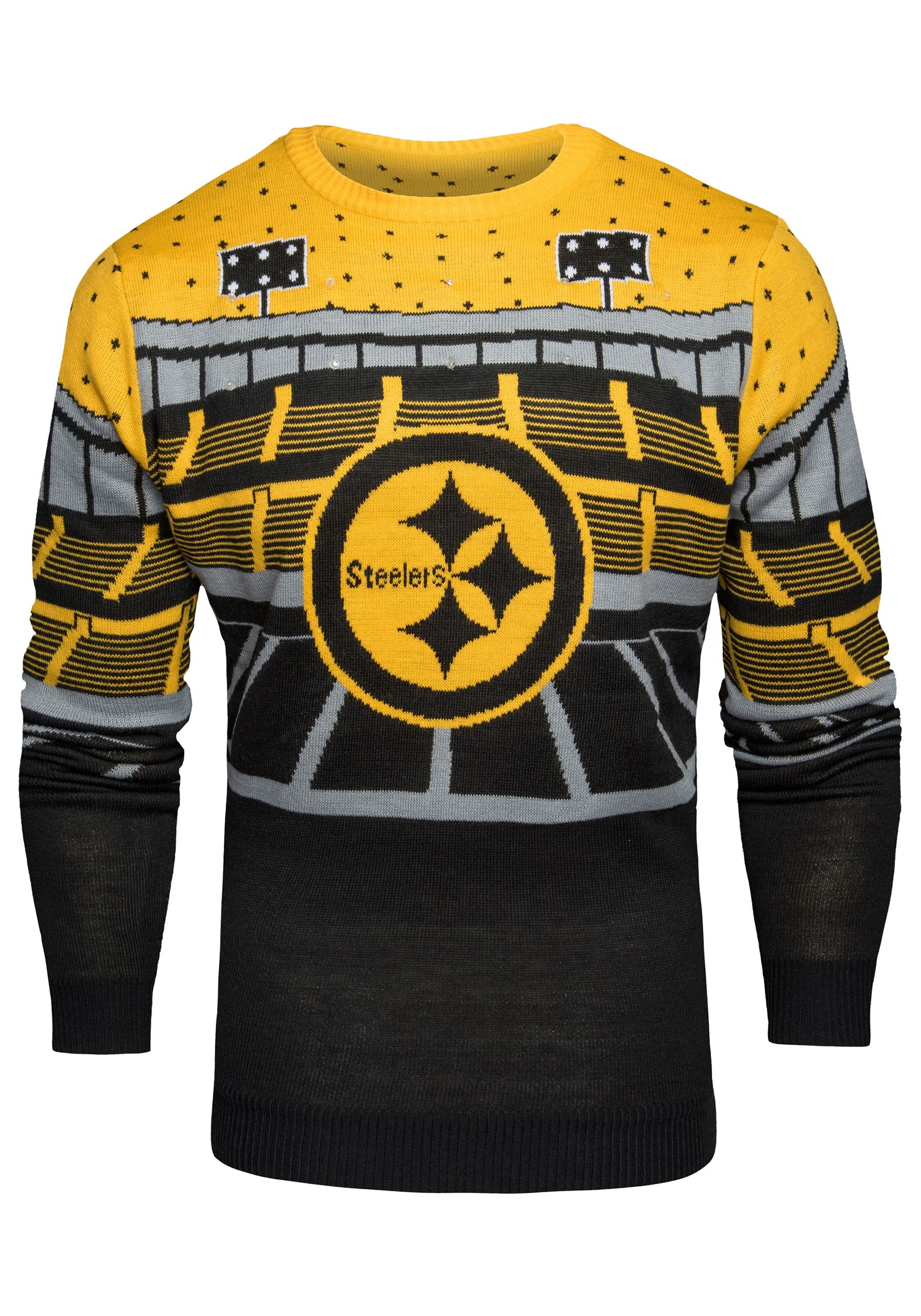 51014326d3d Pittsburgh Steelers Light Up Bluetooth Men's Ugly Christmas Sweater