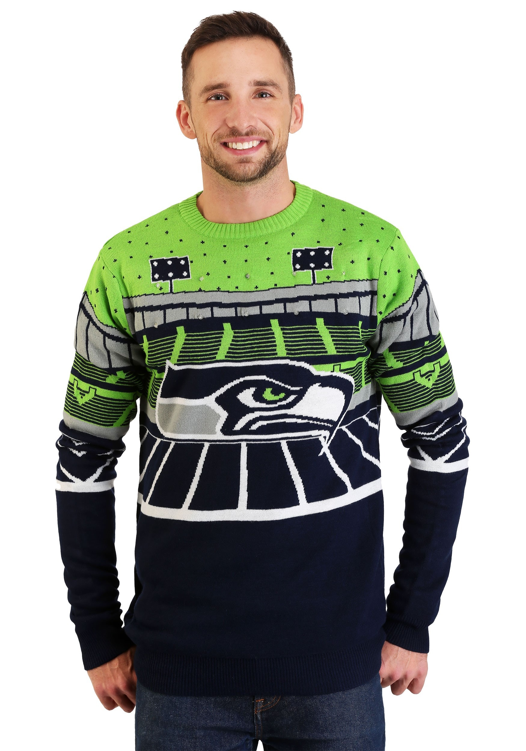 seattle seahawks light up bluetooth ugly christmas sweater - Seahawks Christmas Sweater