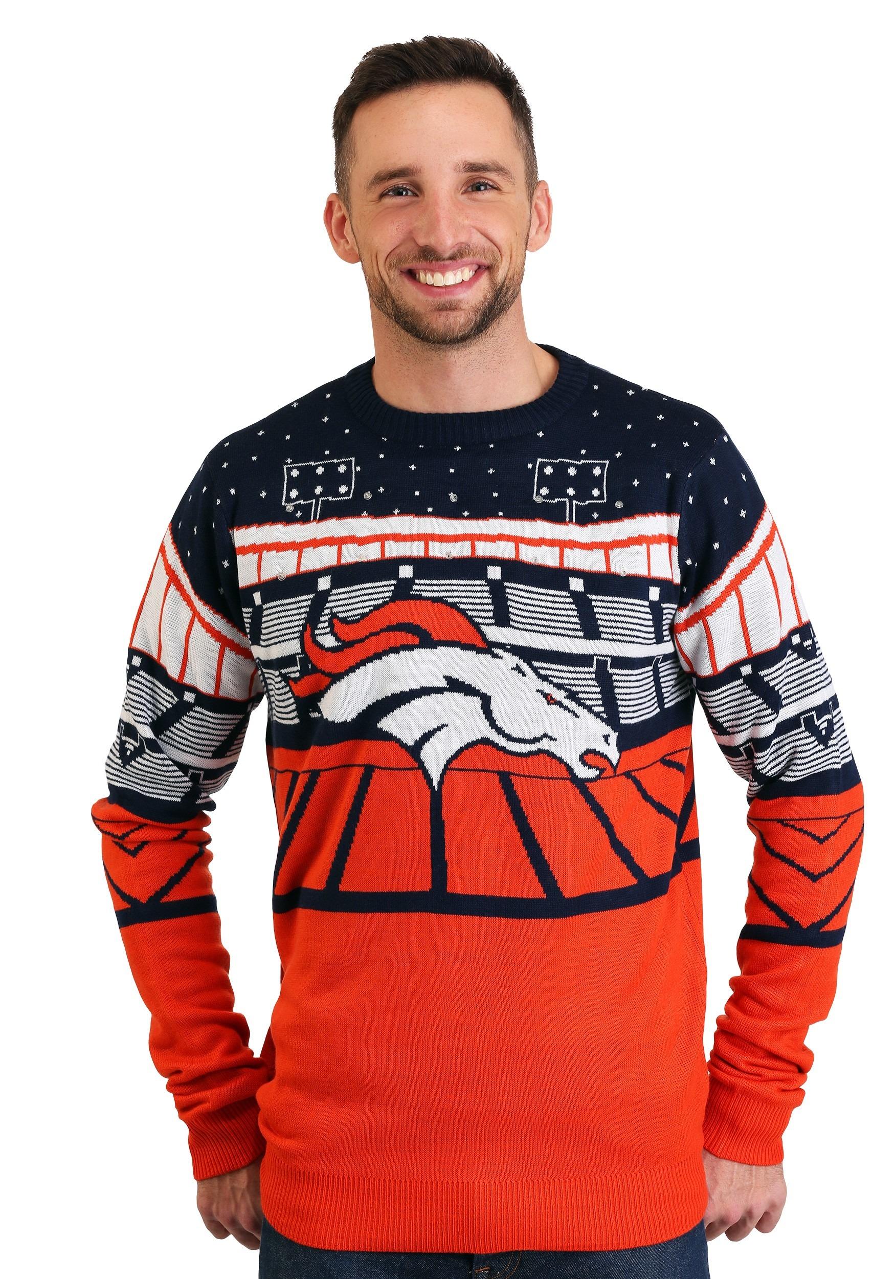 2caf9076 Denver Broncos Light Up Bluetooth Ugly Christmas Sweater