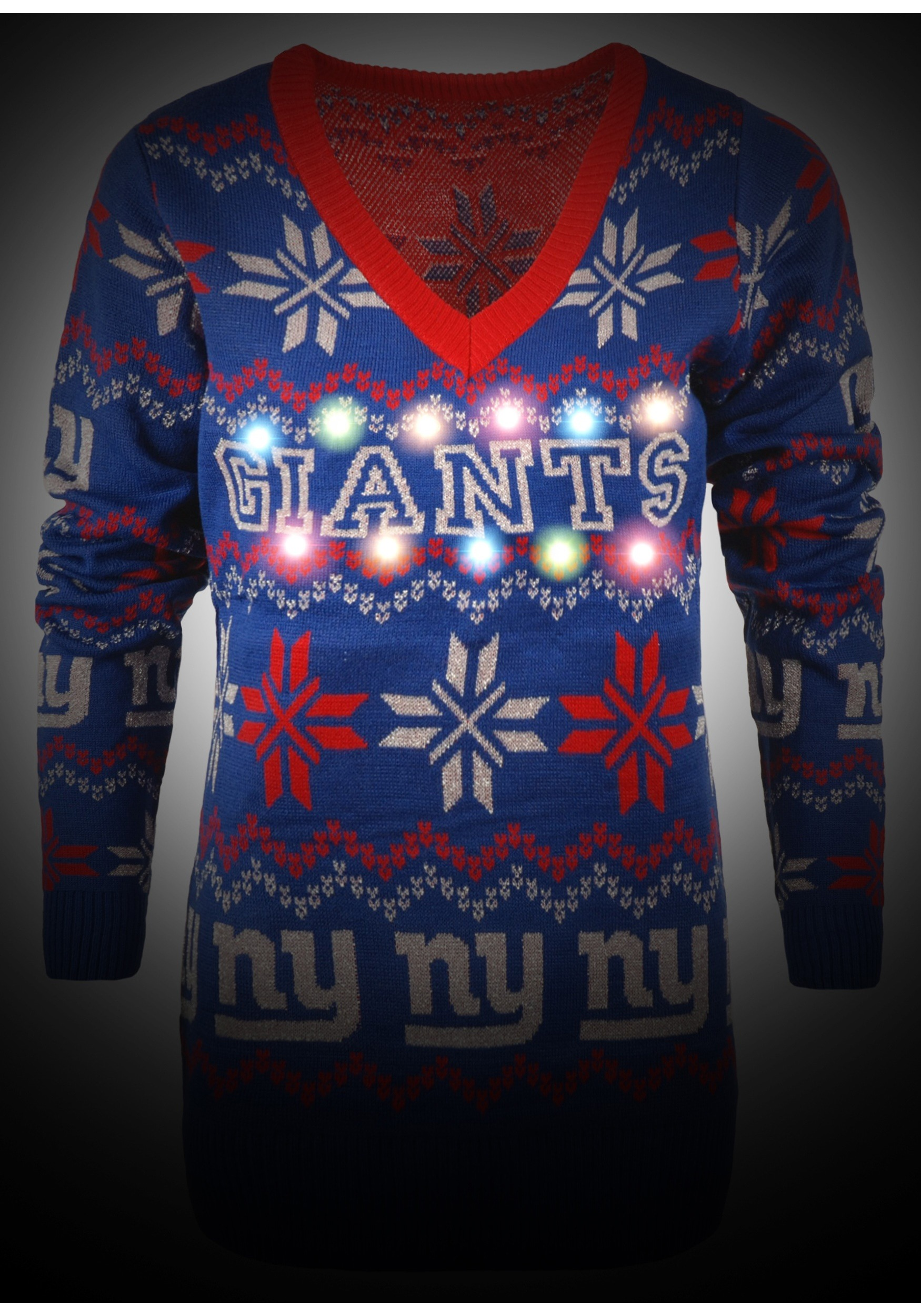 Women s New York Giants Light Up V-Neck Bluetooth Ugly Christmas Sweater 0b47a9062c