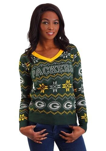 Green Bay Packers Womens Light Up V-Neck Sweater update 1