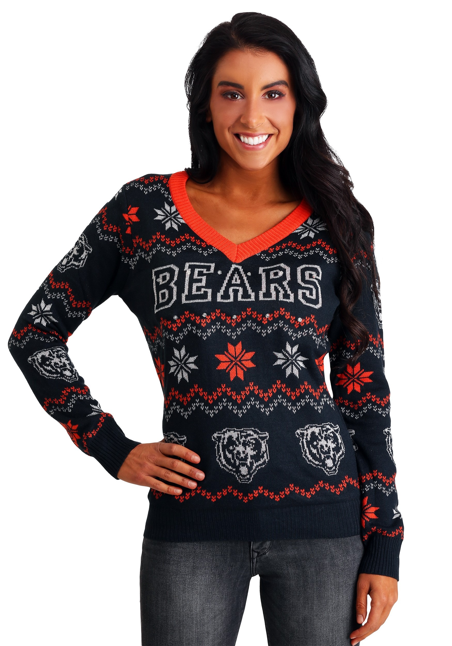 aa109198be8 Chicago Bears Women s Light Up V-Neck Bluetooth Ugly Christmas Sweater