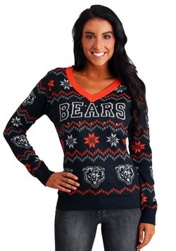 ac8c759ee63 Women s Chicago Bears Light Up V-Neck Ugly Christmas Sweater