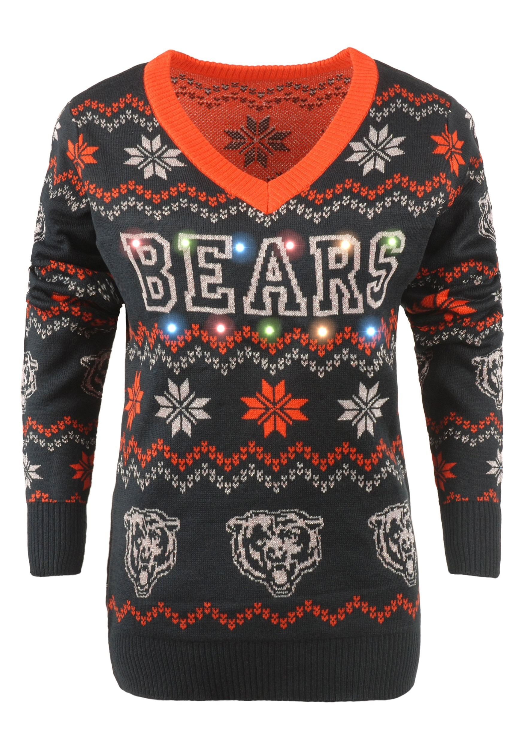 16975c52cb7 Chicago Bears Women's Light Up V-Neck Bluetooth Ugly Christmas Sweater