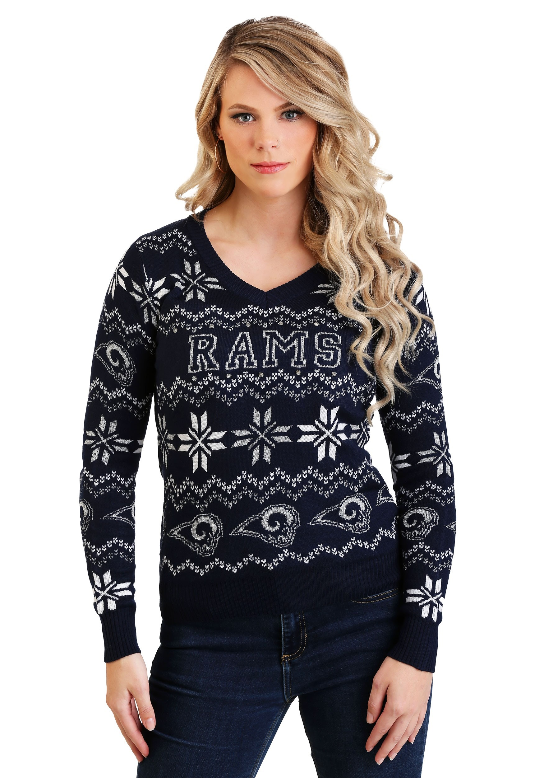 Los Angeles Rams Light Up V-Neck Bluetooth Sweater for Women 81f029c78