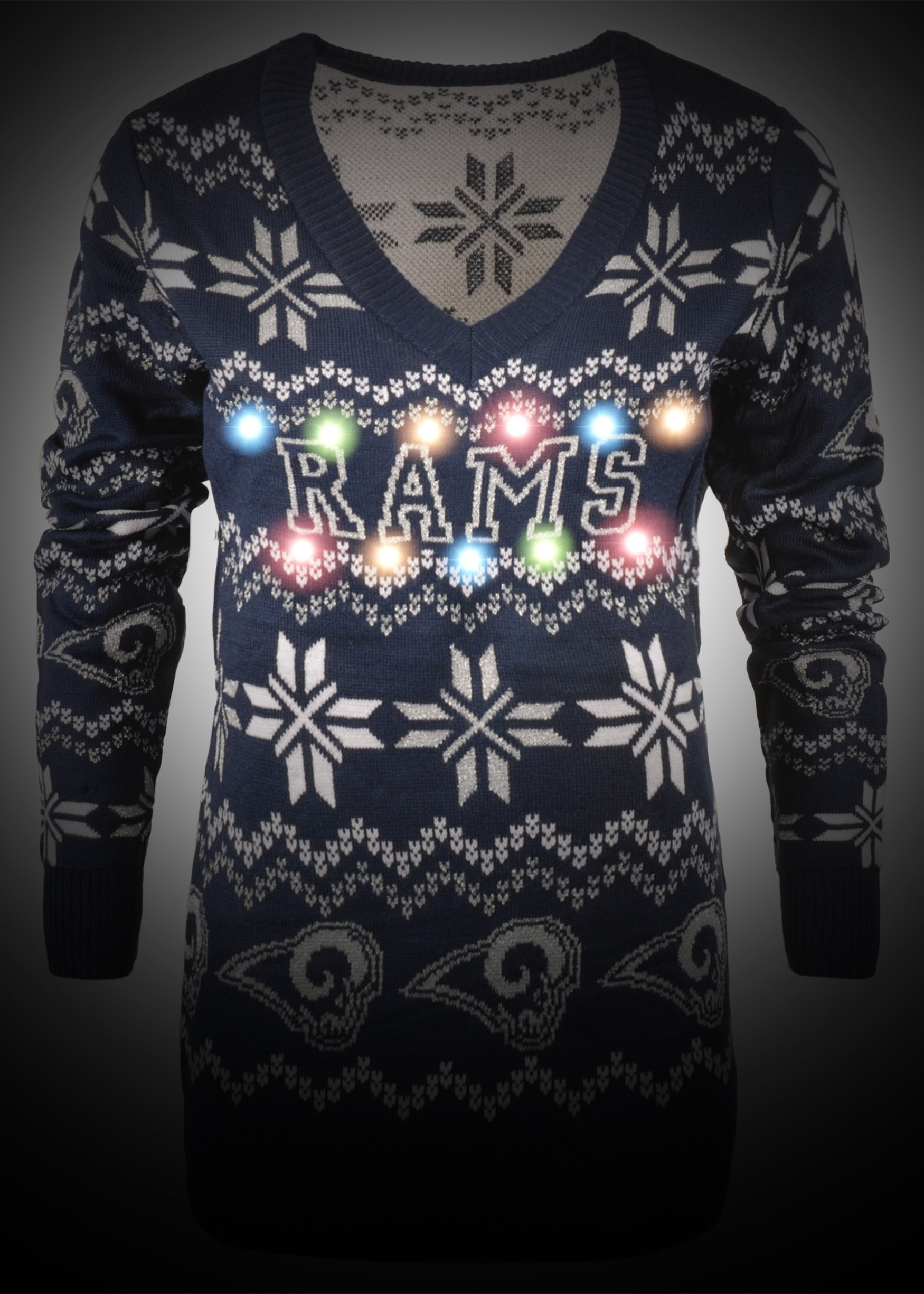 ... Los Angeles Rams Women s Light Up V-Neck Bluetooth Sweater 0d519d280