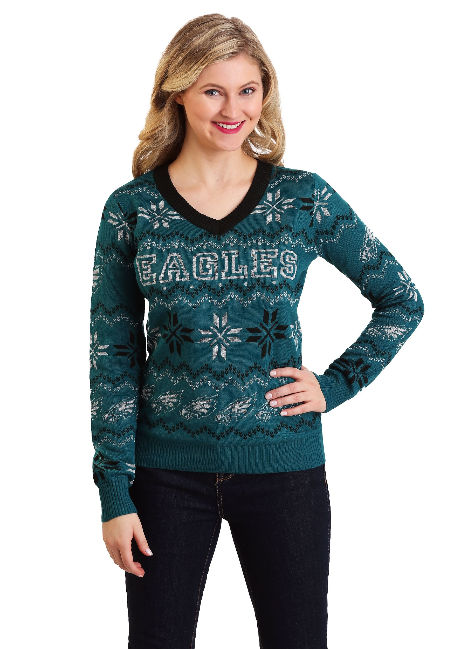 best service 17b5b bb53c Philadelphia Eagles Womens Light Up V-Neck Bluetooth Sweater