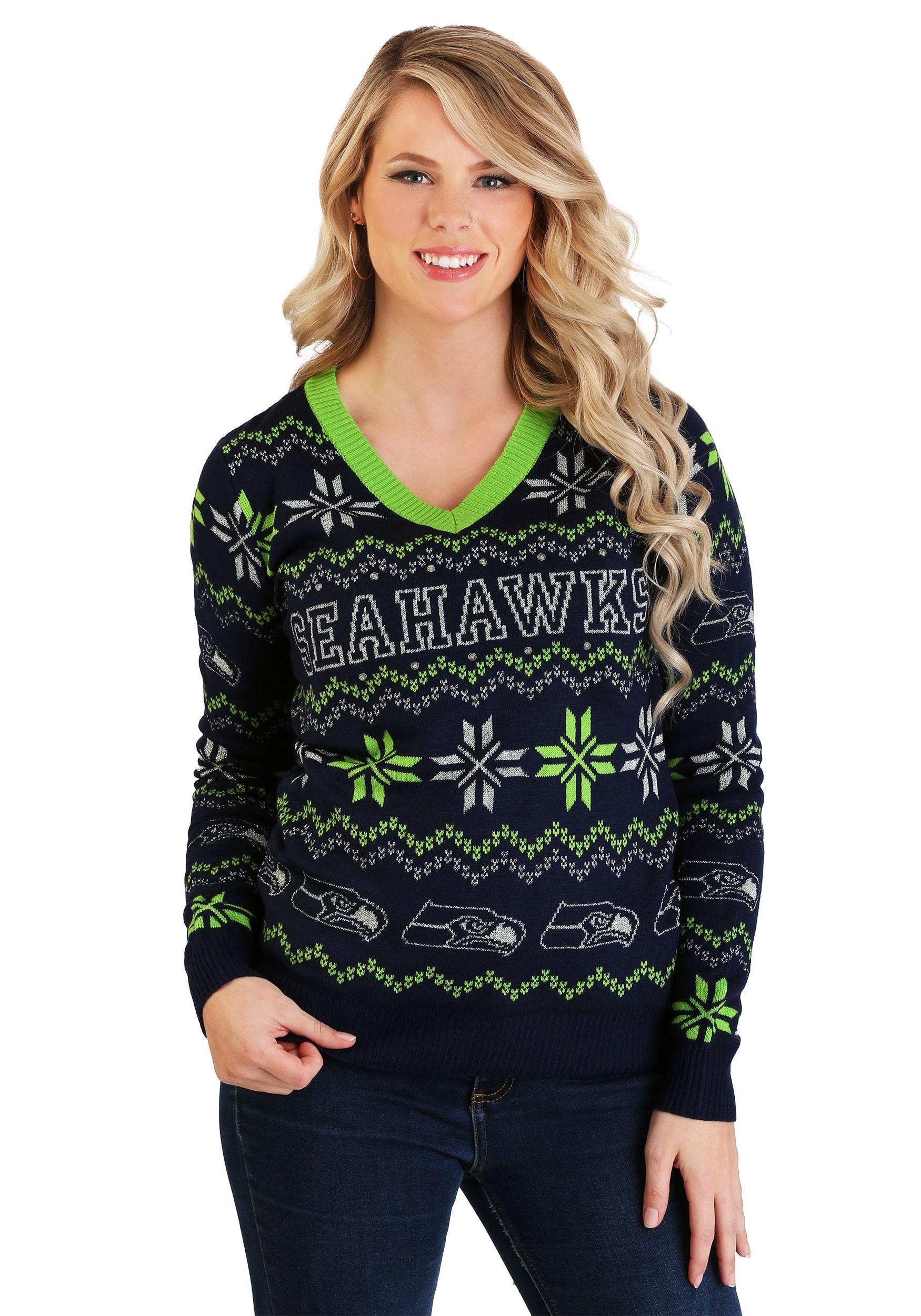 official photos 94a19 5d68f Seattle Seahawks Women's Light Up V-Neck Bluetooth Sweater