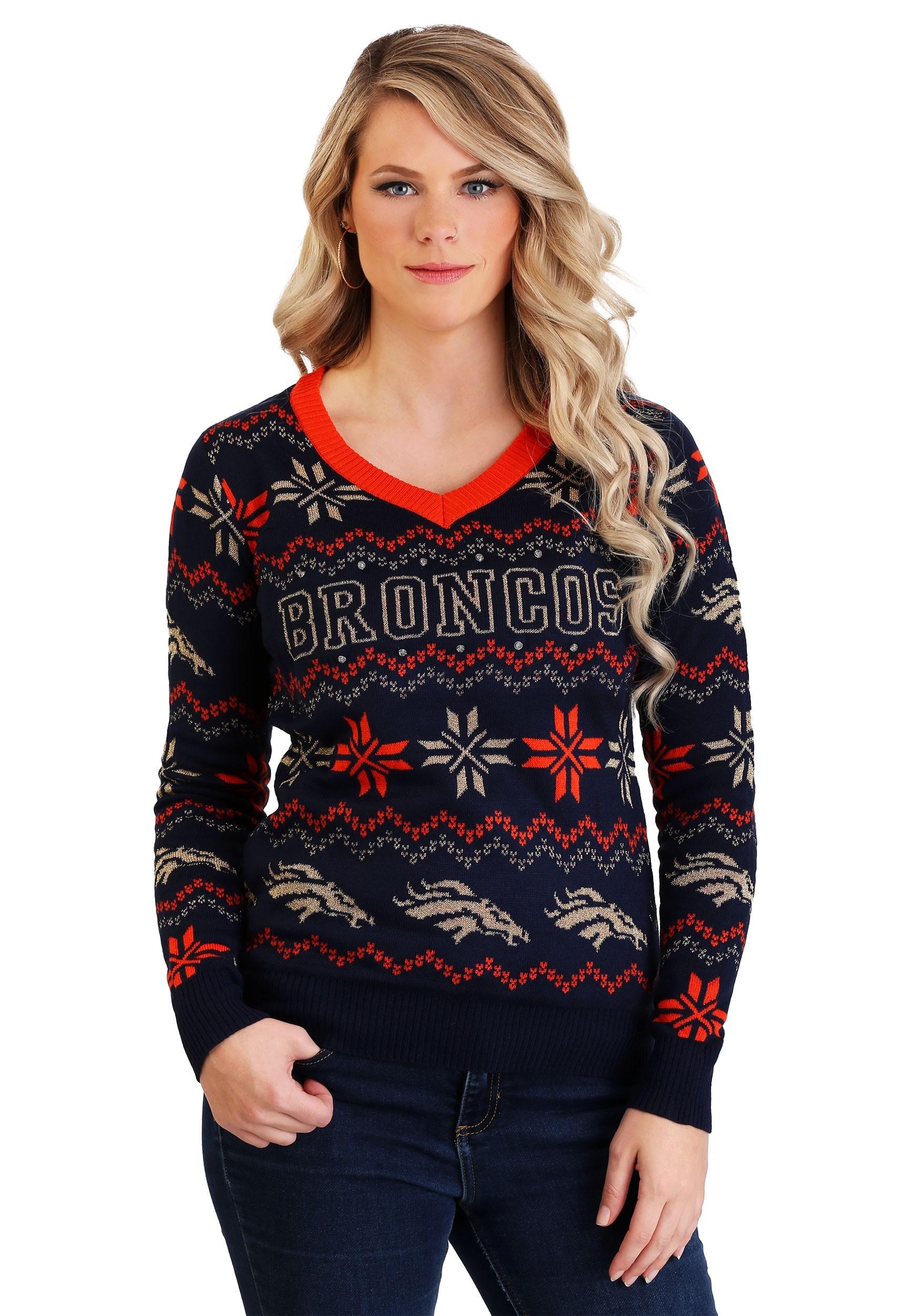 832a1562 Denver Broncos Women's Light Up V-Neck Bluetooth Sweater