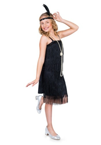 Girl's Black Flapper Costume