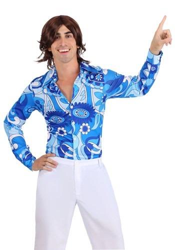 Mens Blue Flower Disco Shirt