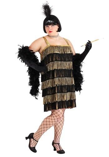 Lady Wearing Plus Size Fringe Gold Flapper Costume