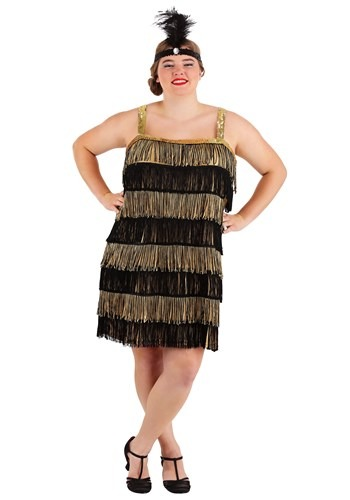 Plus Size Fringe Gold Flapper Costume for Women