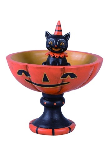 Image Black Cat Resin Treat Stand Halloween Decor
