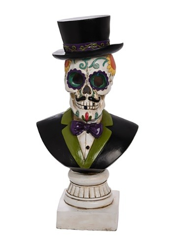 Resin Light Up Day of the Dead Gentleman Bust Decoration