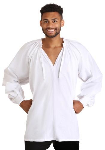 Plus Size White Peasant Shirt for Men