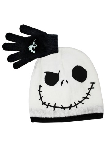 Jack Skellington Kids Face Beanie w/ Gloves Set