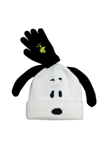 Snoopy Kids Big Face Pom Beanie w/ Glove Set