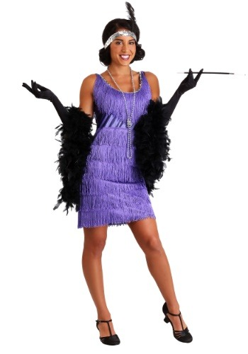 Plus Size Purple Fringe Flapper Costume