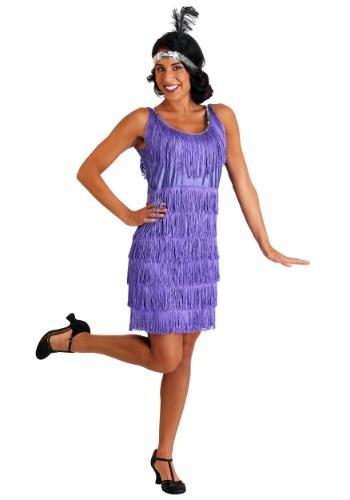 Plus Size Purple Fringe Flapper Costume for Women