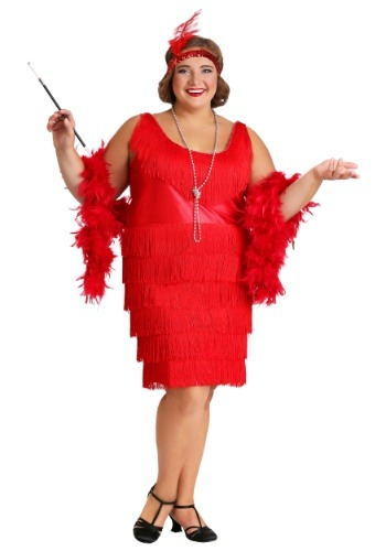 Click Here to buy Red Plus Size Flapper Dress from HalloweenCostumes, USA Funds & Shipping