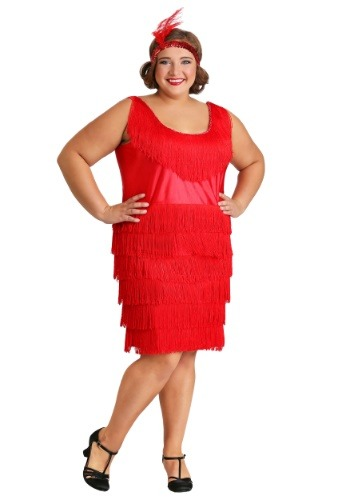Click Here to buy Red Plus Size Flapper Costume 1X 2X 3X 4X 5X from HalloweenCostumes, CDN Funds