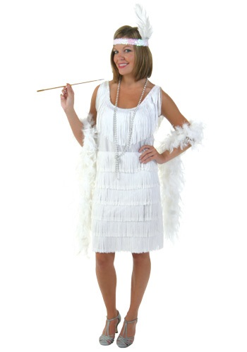 Plus Size White Flapper Girl Costume By: Fun Costumes for the 2015 Costume season.