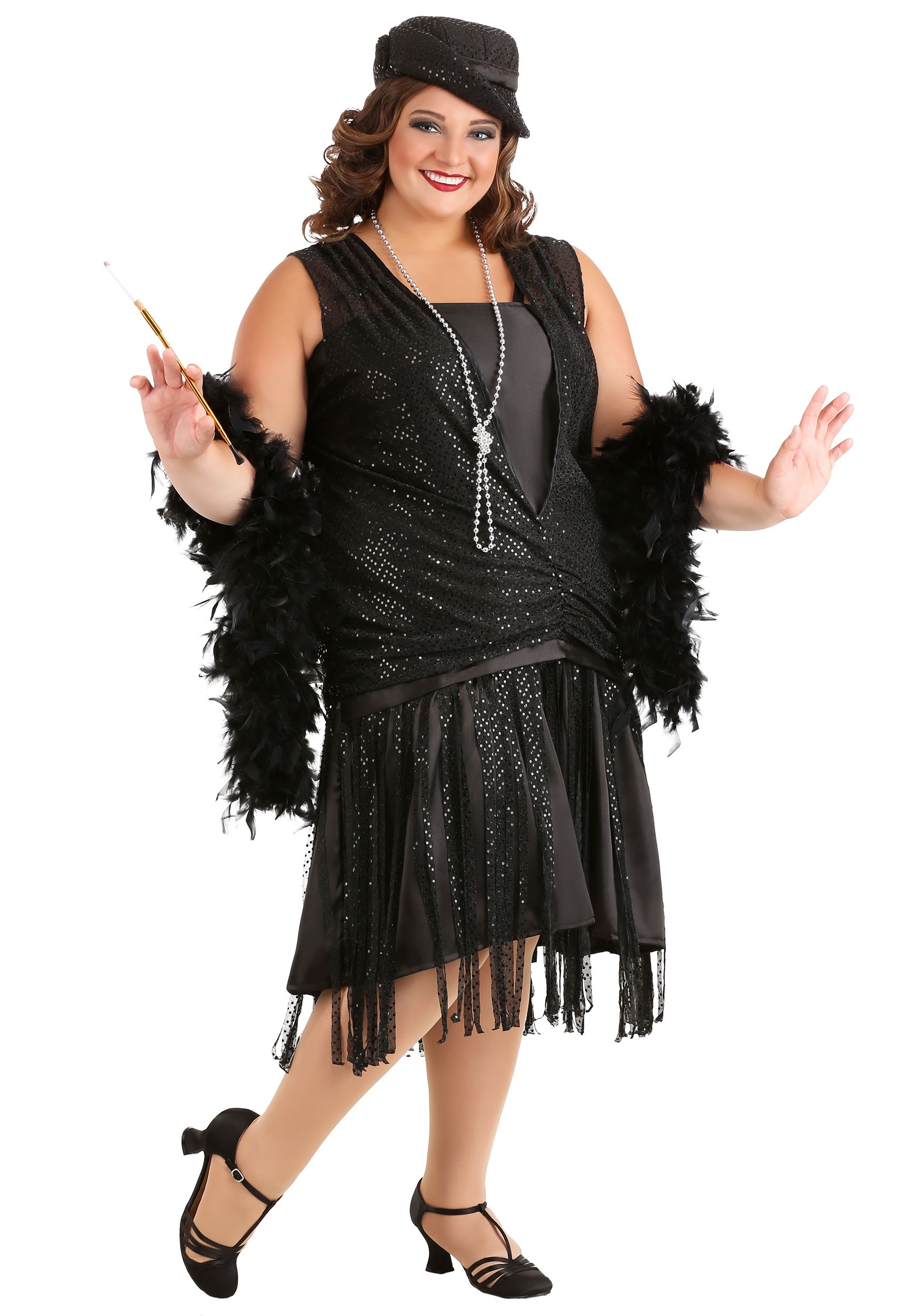 Plus Size Black Jazz Flapper Costume for Women