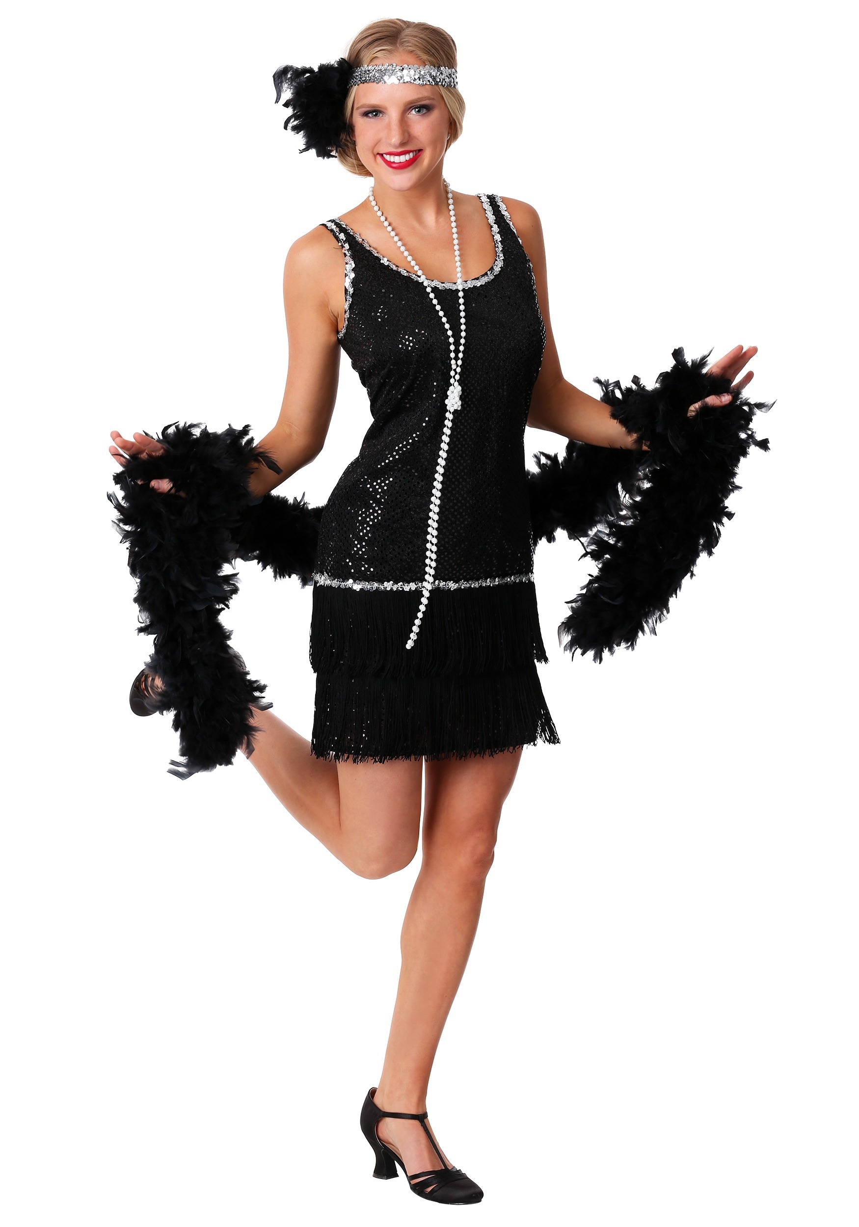 Black Sequin & Fringe Plus Size Flapper Costume