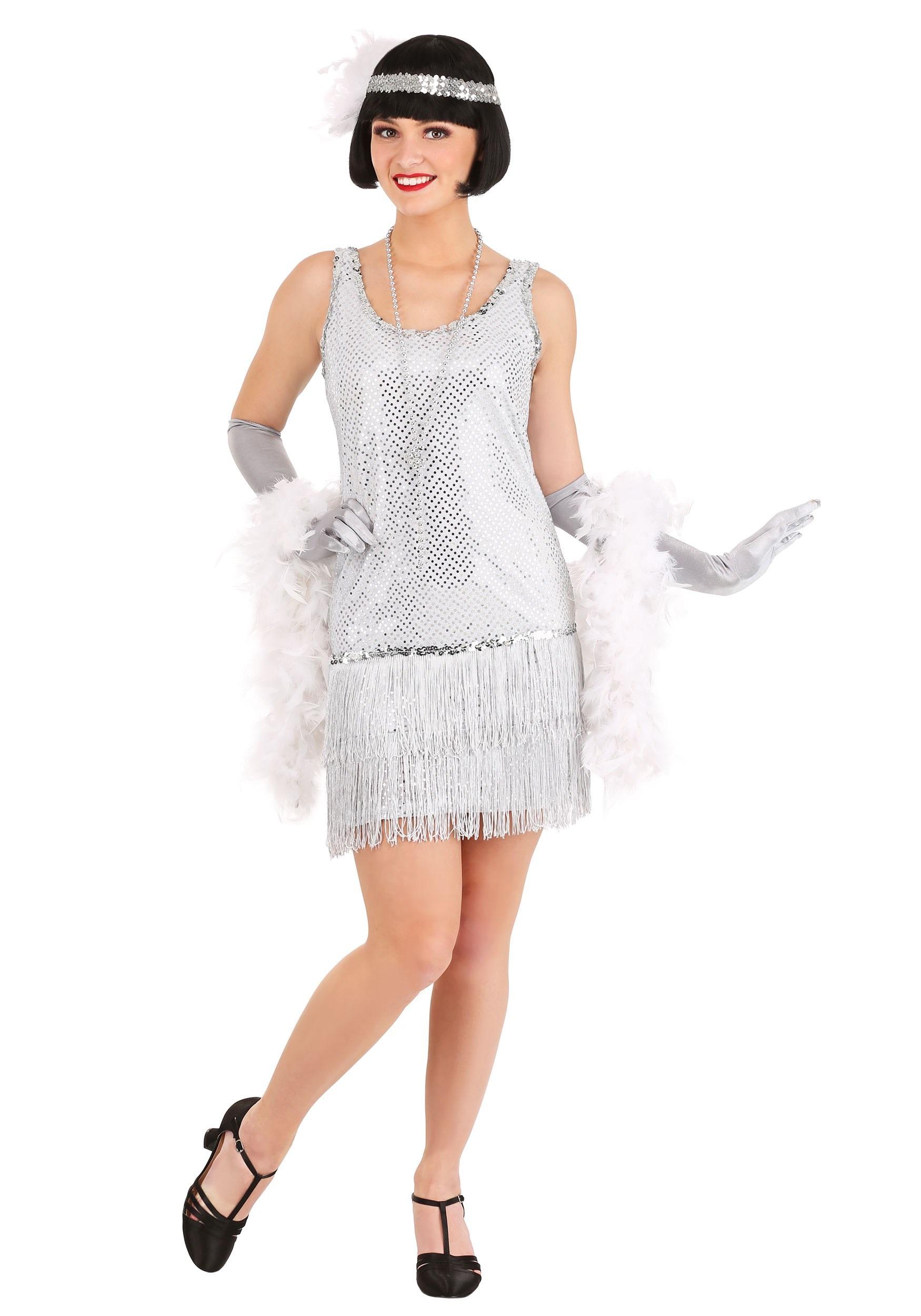 Silver Plus Size Flapper Costume Dress for Women