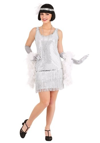 Click Here to buy Silver Plus Size Flapper Dress Costume 1X 2X 3X 4X from HalloweenCostumes, CDN Funds