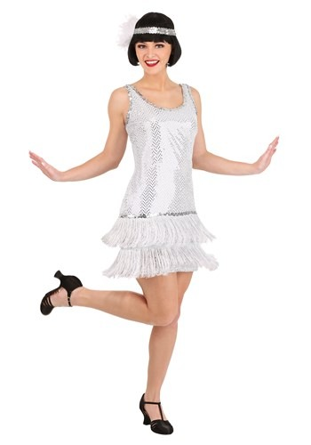 Click Here to buy Silver Plus Size Flapper Dress Costume from HalloweenCostumes, USA Funds & Shipping