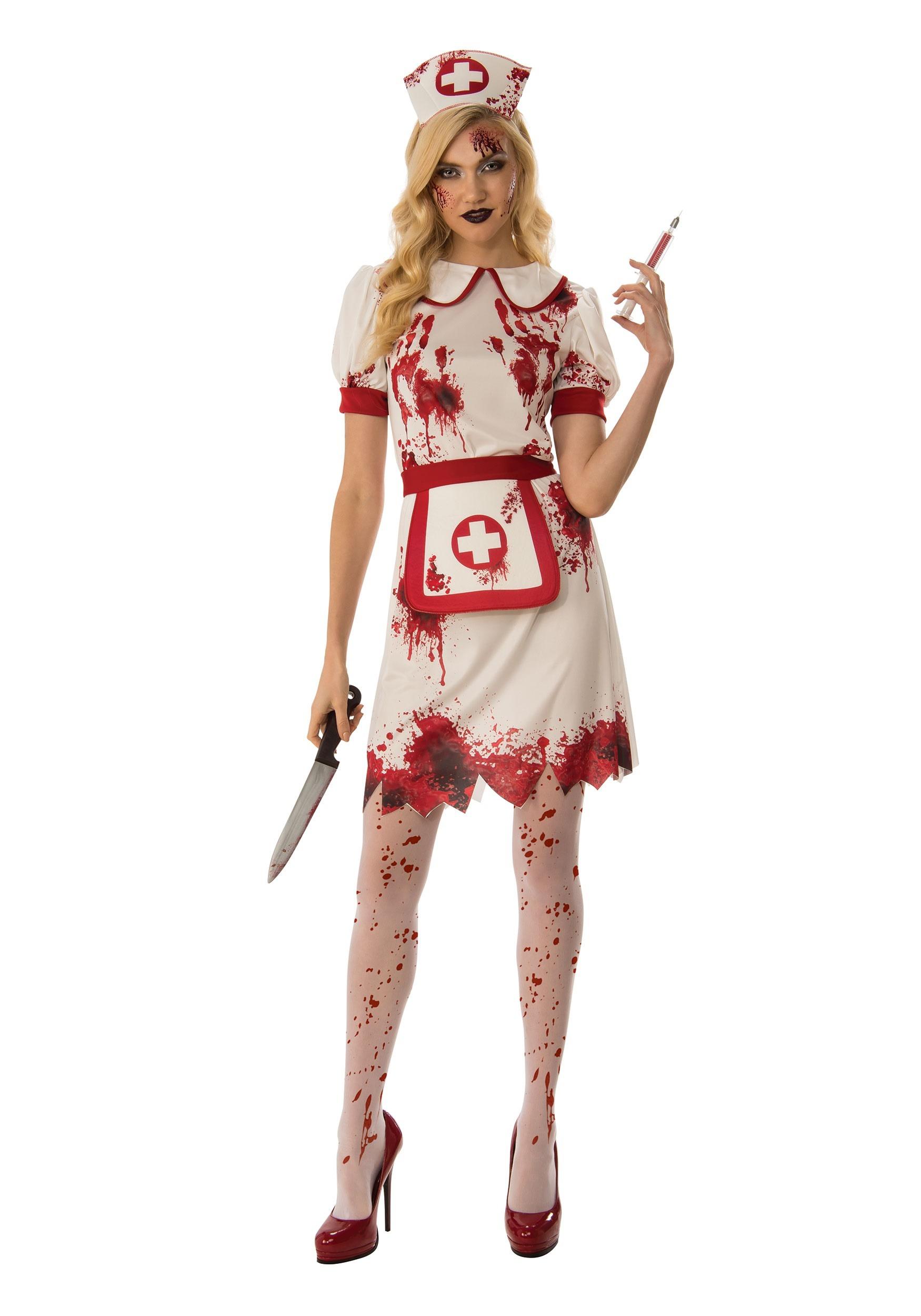 LADIES BLOODY NURSE COSTUME WITH BLOODY TIGHTS HOSPITAL HALLOWEEN FANCY DRESS